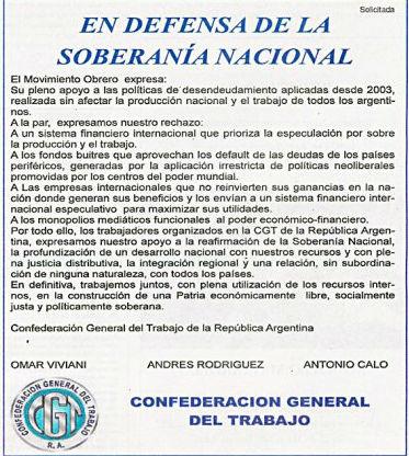 La CGT respaldó al gobierno contra los fondos buitre