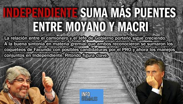 Independiente suma puentes entre Moyano y Macri