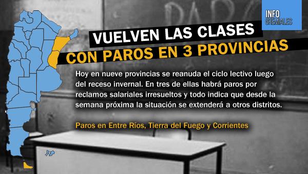 Vuelven las clases con paros en 3 provincias