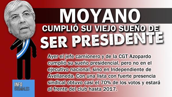 Moyano cumplió su viejo sueño de ser presidente