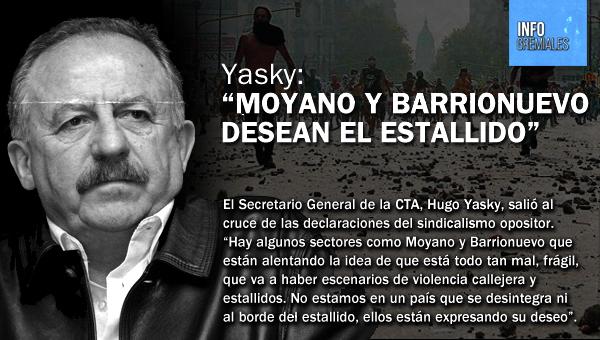 """Yasky: """"Moyano y Barrionuevo desean el estallido"""""""