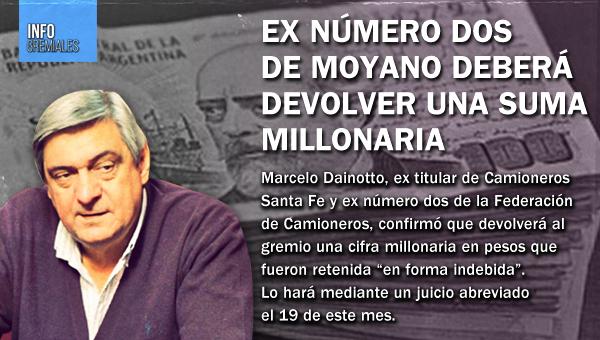 Ex ladero de Moyano devolverá una suma millonaria