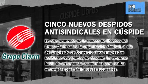 Cinco nuevos despidos antisindicales en Cúspide
