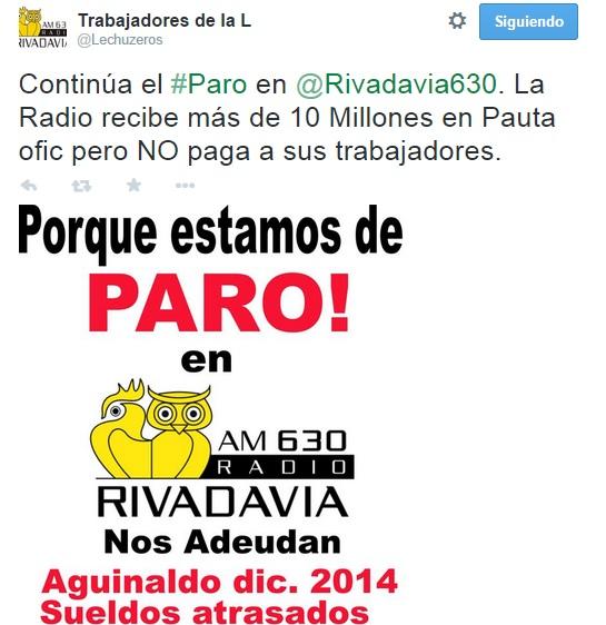 Ya son cuatro los días de paro en Radio Rivadavia