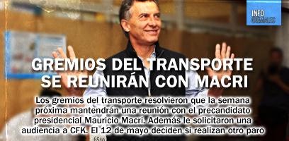 Gremios del transporte se reunirán con Macri