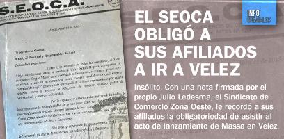 El SEOCA obligó a sus afiliados a ir a Velez