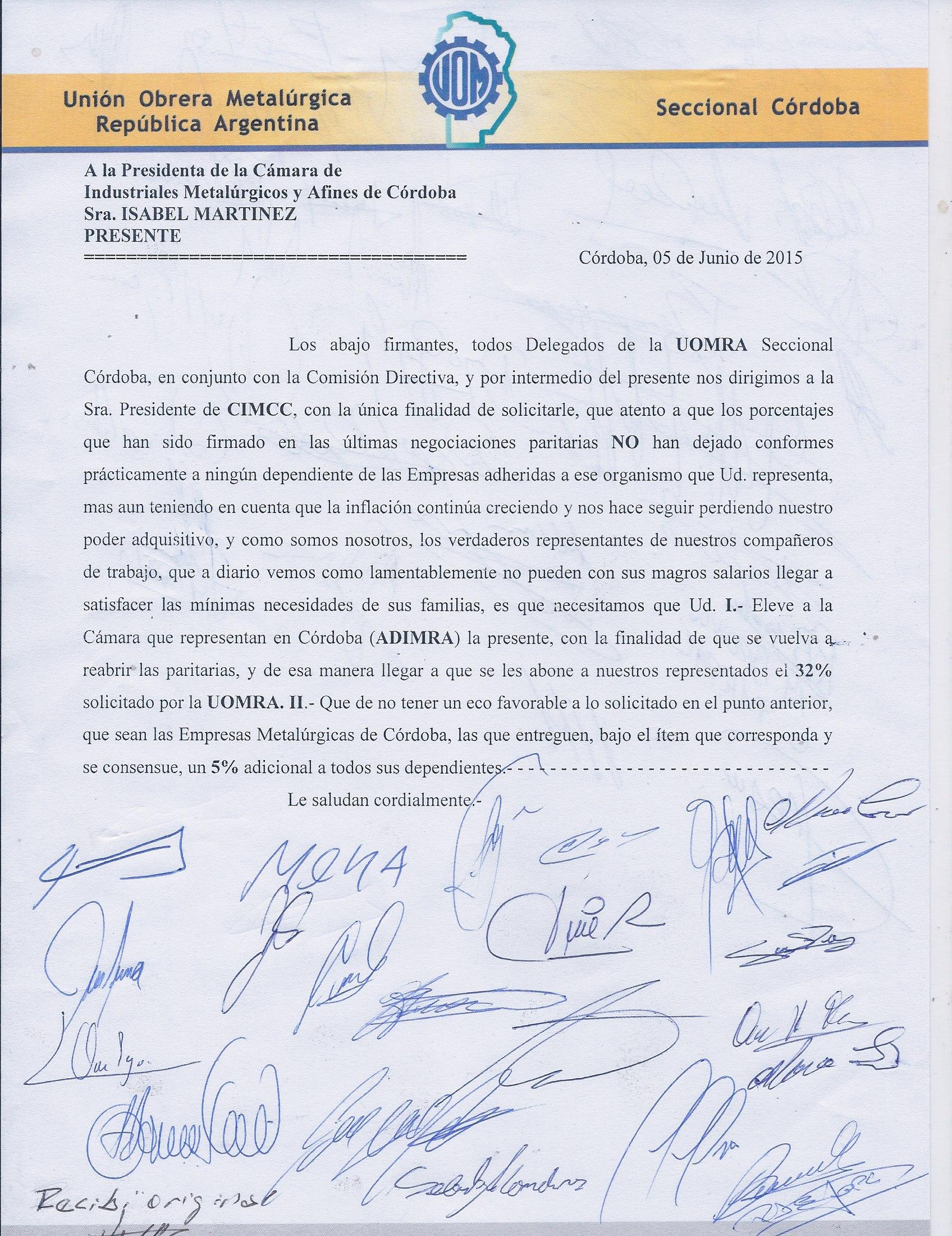 La UOM Córdoba le mete presión a Caló