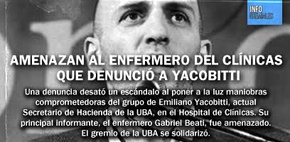 Amenazan al enfermero del Clínicas que denunció a Yacobitti
