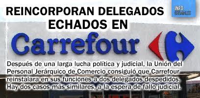 Reincorporan delegados echados en Carrefour