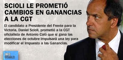 Scioli le prometió cambios en Ganancias a la CGT