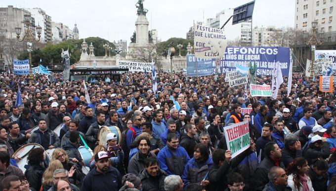 Telefónicos movilizaron por participación en las Ganancias