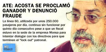 ATE: Acosta se proclamó ganador y denunció fraude