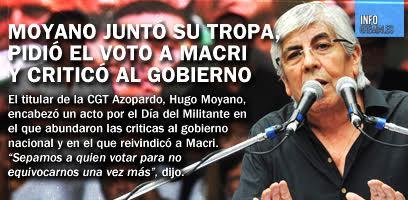Moyano juntó su tropa, pidió el voto a Macri y criticó al gobierno