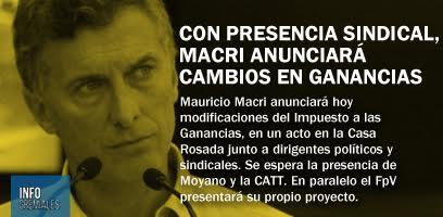 Con presencia sindical, Macri anunciará cambios en Ganancias