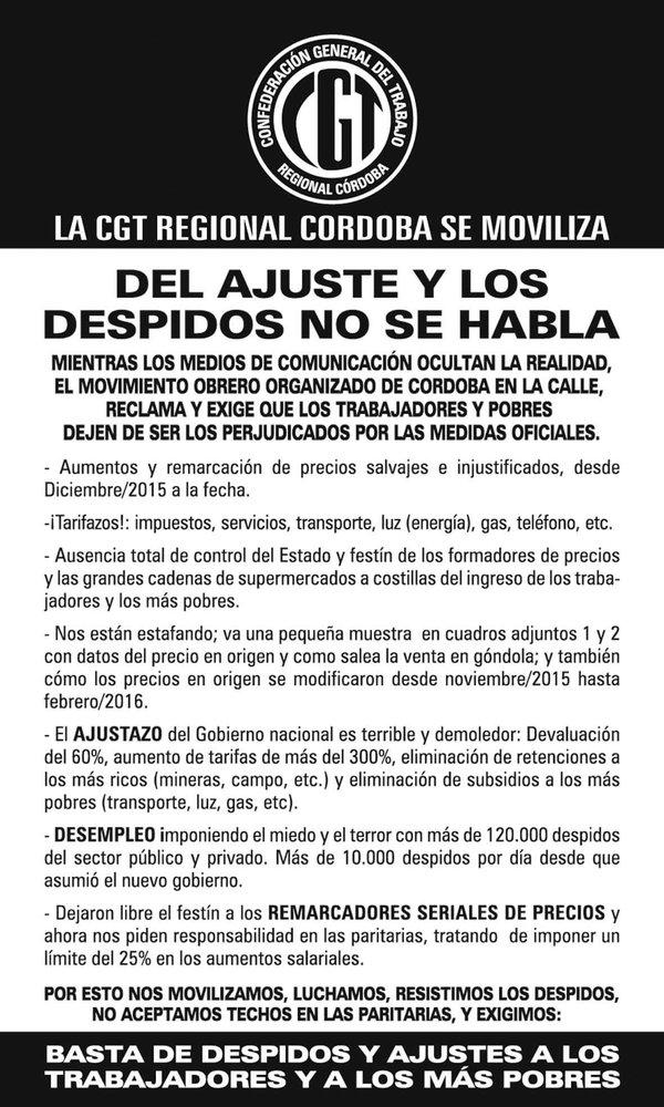 Alerta y movilización de la CGT Córdoba por los despidos y el ajuste