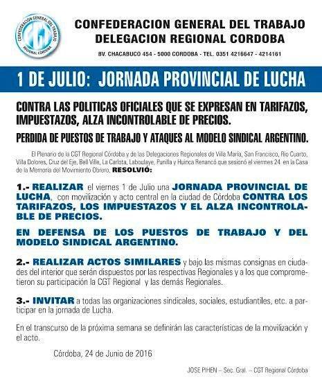 La CGT Córdoba marchará contra los tarifazos y la suba de precios