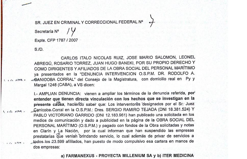 Denuncia y escándalo en la intervención de la Obra Social del SOMU