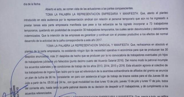 61 despidos en el Ingenio San Isidro