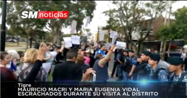 Docentes repudiaron a Macri y Vidal en Tigre
