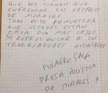 Milagro Sala escribió una carta a ATE Nación para cuestionar su apoyo a Morales