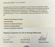 Las CGT y las CTA lanzaron una convocatoria conjunta para la movilización del martes
