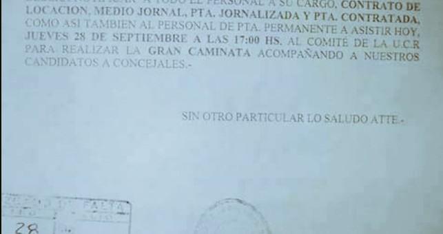 Municipales jujeños denuncian que intendente PRO los obliga a asistir a actos de campaña
