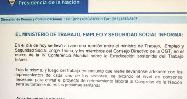 """El Gobierno celebró el acuerdo por el """"proyecto de ordenamiento laboral"""""""