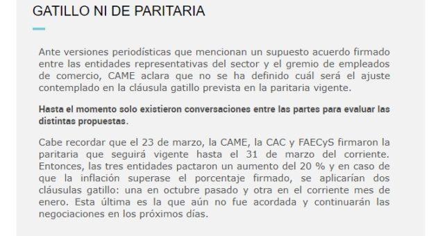 Urgente: La CAME desacredita a Cavalieri y dice que no hay acuerdo por la cláusula gatillo para los mercantiles
