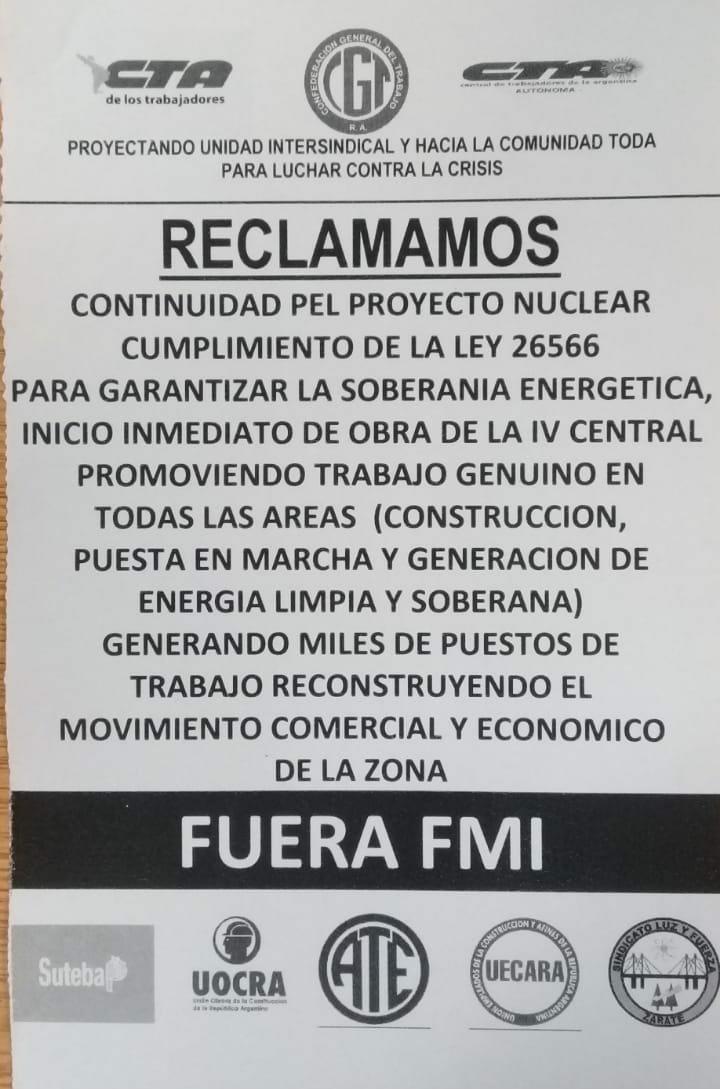 Todo el arco sindical de Zárate condenó el desarme del Plan Nuclear que provocará 3 mil despidos