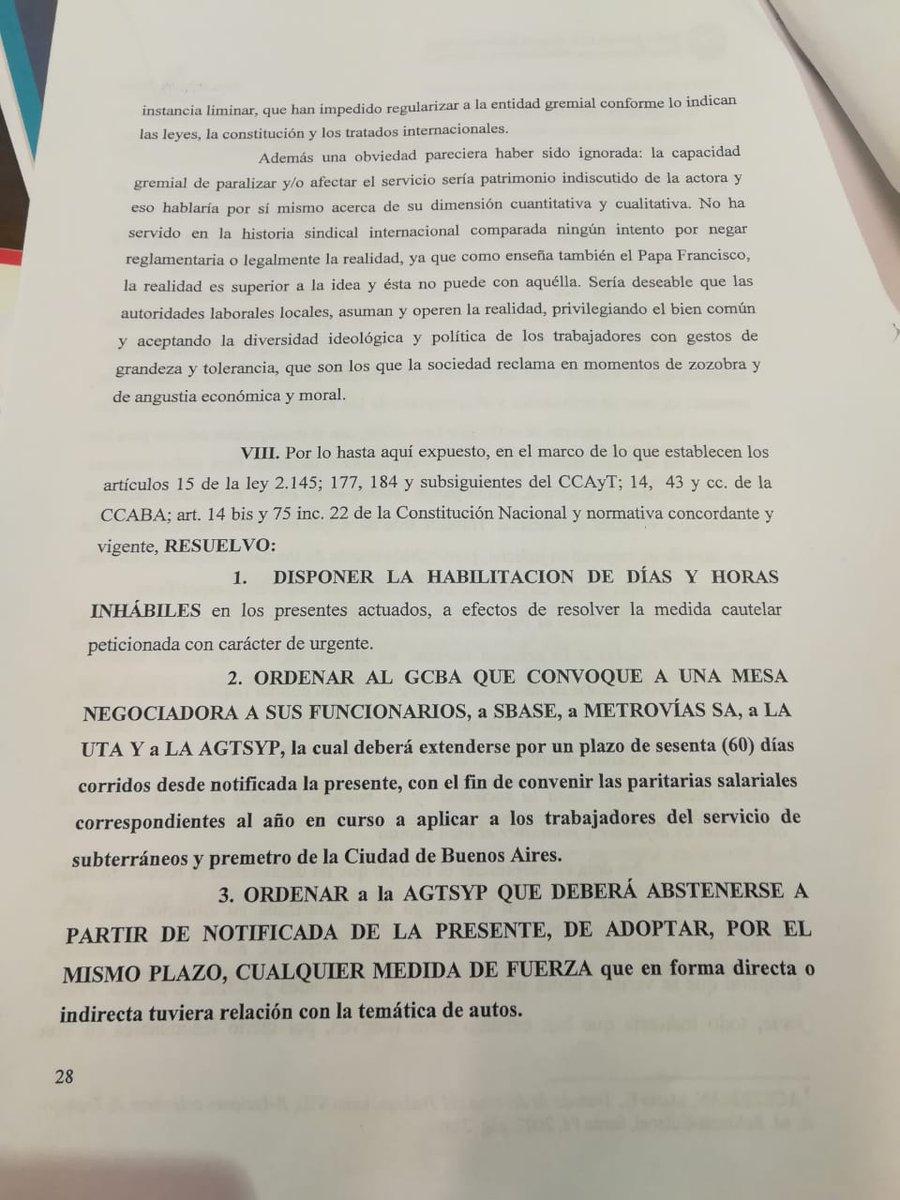 Una cautelar ordena al Gobierno porteño discutir la paritaria con los metrodelegados