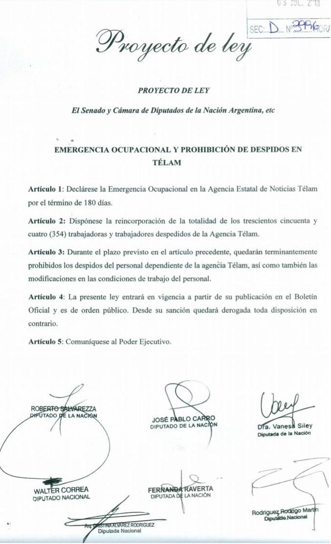 Presentan un proyecto para declarar la emergencia ocupacional y prohibir los despidos en Télam