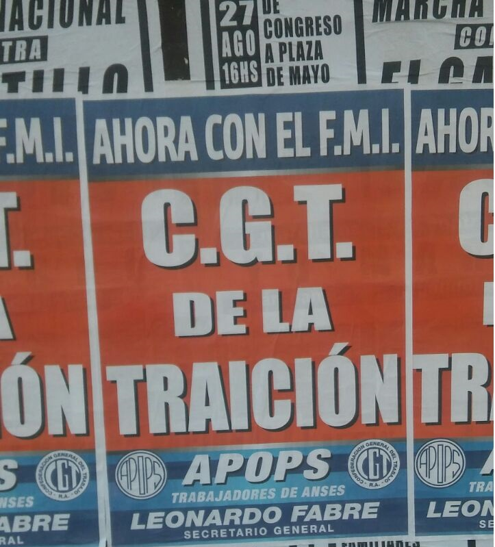 Fabre volvió a calificar de traidores a los dirigentes de la CGT