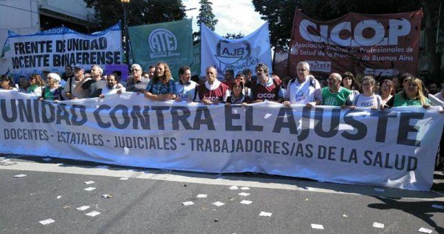 También los gremios bonaerenses paran y movilizan contra el Presupuesto 2019