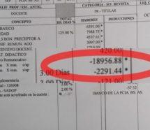 Vidal envía recibos de sueldo en los que los docentes le deben hasta 20 mil pesos al Estado