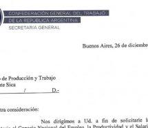 La CGT formalizó el pedido de elevar el Salario Mínimo a 25 mil pesos