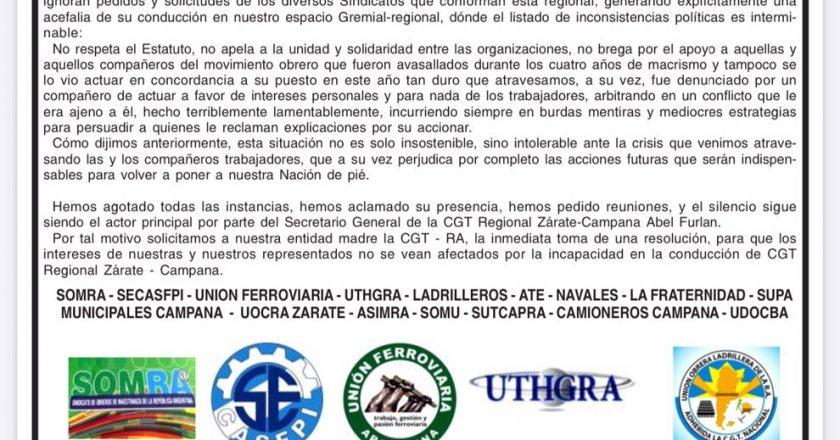 Escala la crisis en la CGT Zárate-Campana y ahora 16 gremios publican solicitada para que corran a Furlán de la conducción