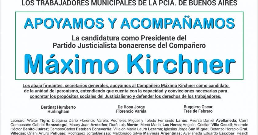 La Federación de Sindicatos de Trabajadores Municipales Bonaerense publicó una solicitada para respaldar la candidatura de Máximo al PJ provincial